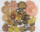 Mixed Lot Stamped Filigree Findings .5 to 1.75 Inches Dimensional