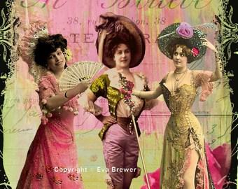 Original digital collage ephemera altered art vintage sheets  print french Paris girls sisters friends