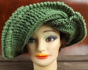 50th Birthday Gift for Women,  Womens Crochet Hat,  Womens Hat Trendy,  Sage Green Hat,  Frontier Wide Brim Hat