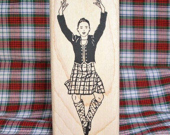 Highland Dancer Rubber Stamp Rocking Step Scotland Scottish Heritage