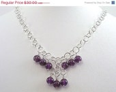 NOW 50% OFF Amethyst Necklace Purple Sterling Silver Wire Wrapped