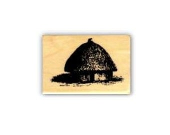 African Hut Mounted rubber stamp, Africa, tribal, safari, travel journal stamp, Sweet Grass Stamps No.17