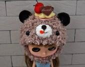 I Love Cake Ami Bear Hat for Blythe--OOAK