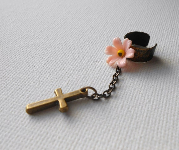 pink flower and cross ear cuff-- soft grnge feminine spring easter edgy jewelry