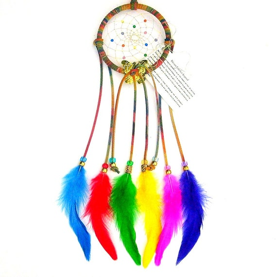 Tie-Dyed Brights Dream Catcher, Rooster Schlappen Feathers