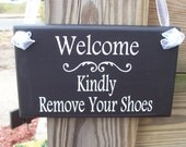 Welcome Kindly Remove Your Shoes Wood Vinyl Sign Home Decorative  Entry Front Door Wall Porch Hanger Outdoor Plaque Phrase Keep Floor Clean