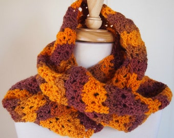 Infinity Scarf - orange and brown