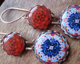 Statement earrings, Red, Mexican jewelry, Mexican plate reproduction, Folk art, drop earrings, Southwestern, statement earrings