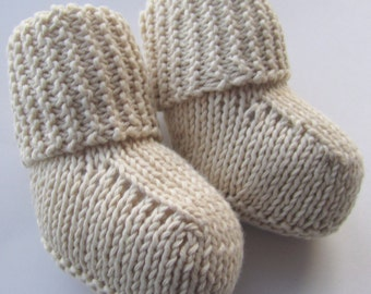 Organic Cotton Baby Booties, Hand knitted slipper socks // Many different sizes and colors to choose from // Baby shower gift