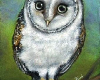 An owl friend - 5x7 PRINT of an original oil pastel painting by Tanya Bond