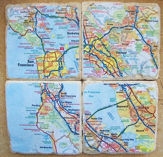 San Francisco & Vicinity Map Coasters