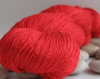 Swiss Silk Yarn, Mulberry Silk, Lace Weight, Almost Solid, 980yds - Scarlet