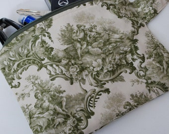 Zippered Green Toile Cotton Fabric Wristlet