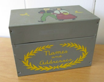 vintage  folk name and address file box