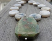 Chunky Green Unakite Pendant with Botswana Agate and Pyrite Necklace