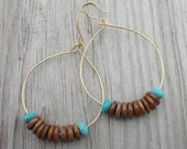 Brown Shells and Turquoise Hammered Brass Hoop Earrings SydneyAustinDesigns