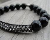 Black Gunmetal Crystal Bar and Black Onyx Bracelet