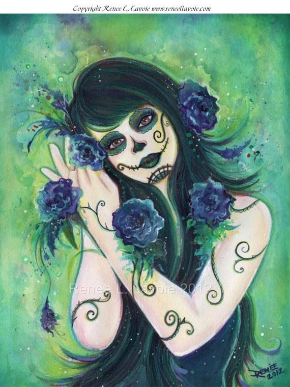 Adelita day of the dead aceo print by Renee