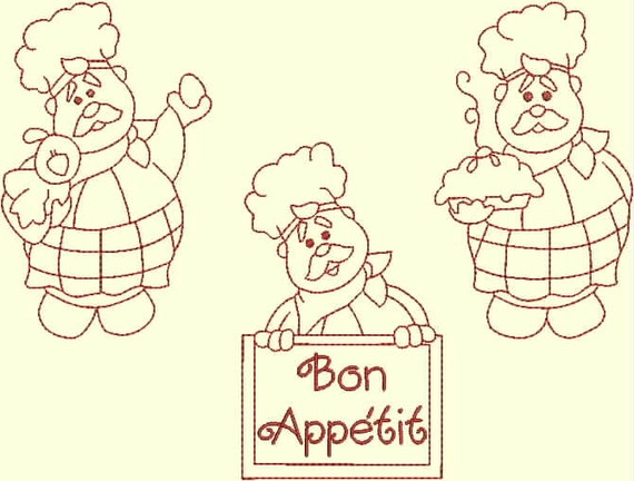 Items Similar To Instant Download Bon Appetit Kitchen Chef Redwork Machine Embroidery Designs On