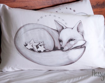 Star Fox Pillowcase. White cotton pillow slip, with printed picture.