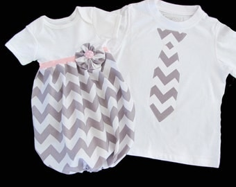 Boutique SIBLING SET..Brother sister outfits..Baby gown and tie t-shirt... in grey chevron