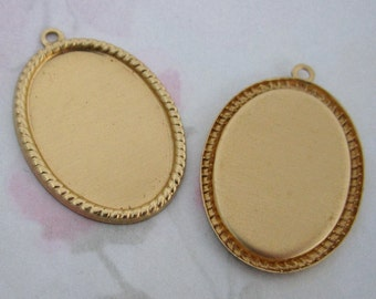 6 pcs. raw brass cabochon settings with loop 25x18mm - f2807