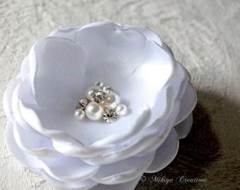 Bridal Accessories, Wedding Hair Flower, White Head Piece, Pearl And Rhinestone Hair Flower  - Petite Angela