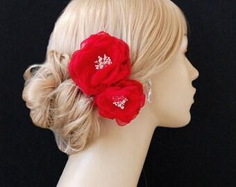 Wedding Hair Flowers, Bridal Chiffon Hair Flowers, Wedding Hair Clips, Bridal Accessories - Sash Accessories In Red Chiffon