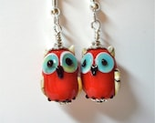 Red Opaque Lampwork Glass Owl Earrings  on Silver   Whooo Can be without these