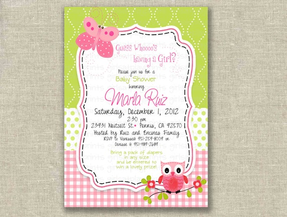Baby Shower Girl Invitation Owl Butterfly Pink Green Birthday  - Printable DIGITAL - by girls at play girlsatplay