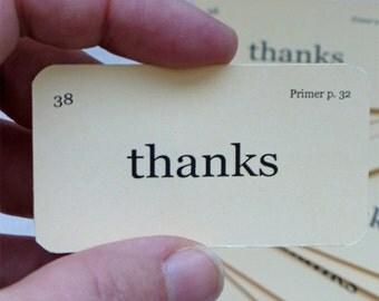 Mini thanks flash cards