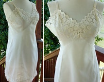 Embroidered Eyelet 1960's 70's Vintage White Cotton Slip by Montgomery Ward 36