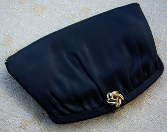 Black Satin 1950's 60's Vintage Handbag Clutch Purse with Gold Clasp and Chain by HL usa