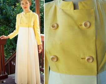 Buttercream 1950's 60's Vintage White and yellow Spring Light Dress Coat Jacket with Big Buttons size Small