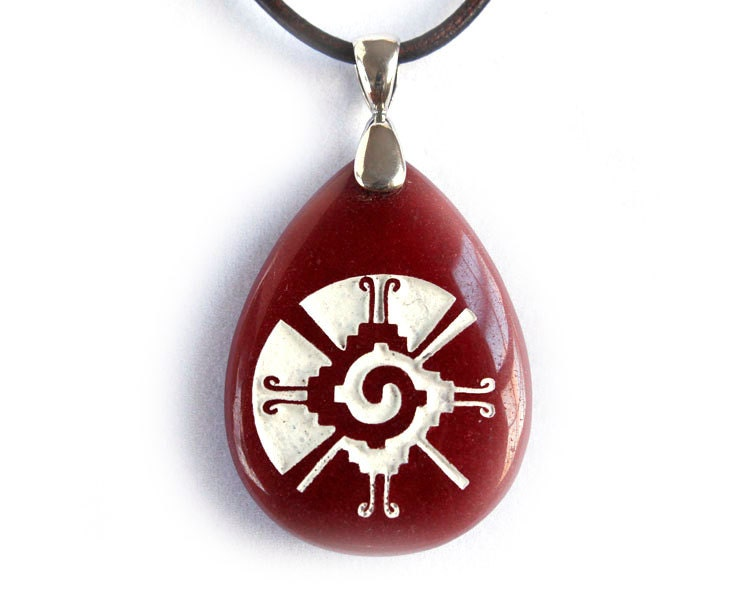 hunab ku necklace engraved pendant dyed jade