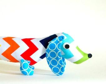 Kids Stuffed Wiener Dog Plush Rainbow Chevron  Dachshund Toy DUKE