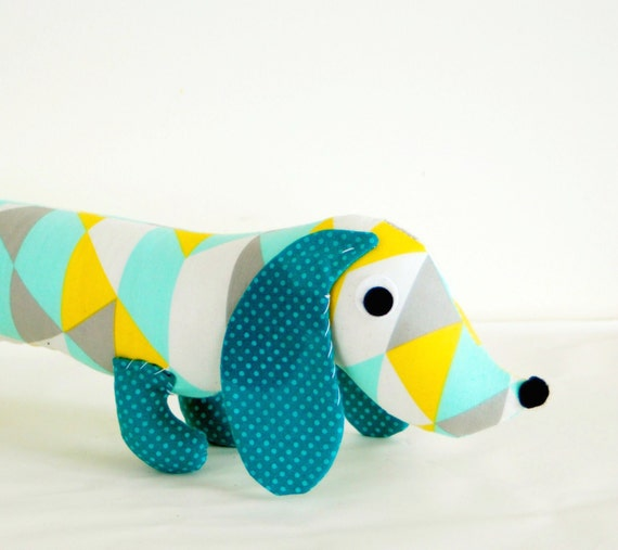 Childrens Soft Doll Toy Plush Wiener Dog VINNIE with Geometric Triangle Print