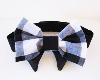 Dog bow tie Check Black and White Dog clothes