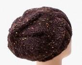 Dark brown tweed knit slouchy hat, ribbed brimmed beanie, watch cap, men's hat, women's hat, knit hat, toque, ski hat, toque, skateboard