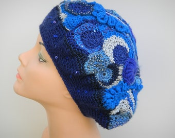 Freeform Crochet Scrumble Beret One Of A Kind Free Shipping in the USA