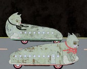 limited edition art print- Cat Cars