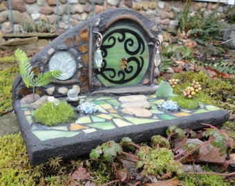 "Fairy Door, Stained Glass Mosaic, Diorama, Fairy House, Woodland Sculpture, Miniature, Garden Art, Magical,Whimsical, ""The Forest Floor"""
