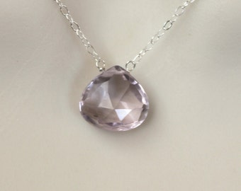 Sparkly pink amethyst sterling silver necklace
