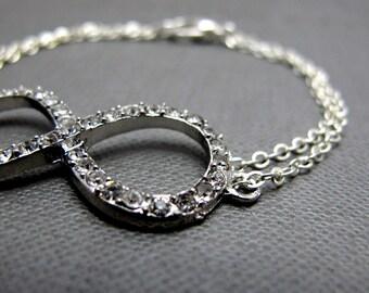 "Silver Rhinestone Paved Infinity Bracelet // Infinity Symbol Charm // 7"" Chain Bracelet // Gift under 20"