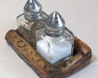 On Sale was 9.95: Faux wood salt and pepper shakers