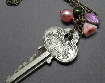 Vintage Key Pearly Pink and Green Necklace Flower and Leaf