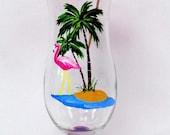 Flamingo Pina Colada Glass - hand painted wine glass - beach glass