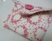 Quilted Little Case, Rosary Case, Card Case, Pouch, Bridesmaid Gift, pink, white, mom organizer