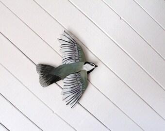 gray bird Original Painting - handcut, handpainted acrylic on birch ply