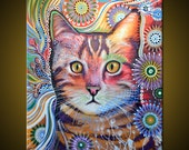 Original Abstract Painting Modern Animals Cats Cat art ...16 x 20 ... Olivia, by Amy Giacomelli